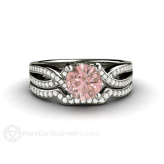 Natural Pink Sapphire Wedding Ring Set Round Cut Diamond Infinity Band Rare Earth Jewelry