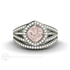 Light Pink Sapphire Wedding Set Halo Cushion Cut Engagement 14K Rare Earth Jewelry