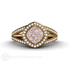 18K Pink Sapphire Engagement Ring Triple Split Shank Halo Rare Earth Jewelry