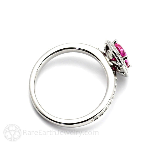 Rare Earth Jewelry Cushion Pink Sapphire Halo Ring 14K White Gold