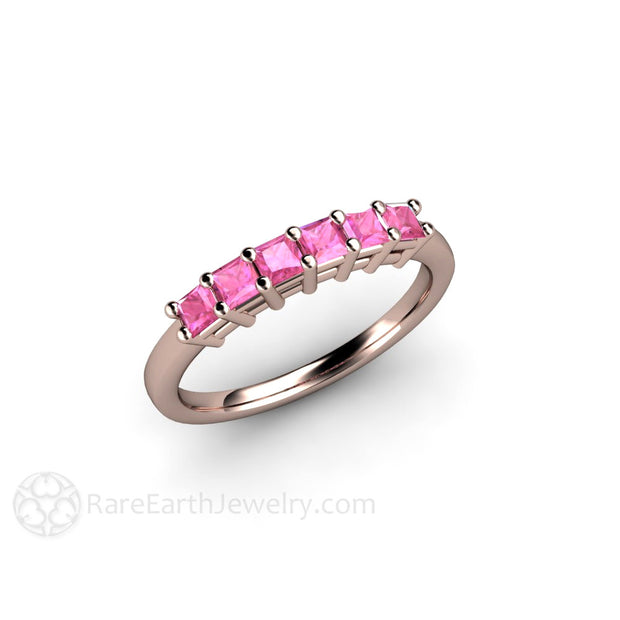 Rose Gold Pink Sapphire Anniversary Ring Rare Earth Jewelry