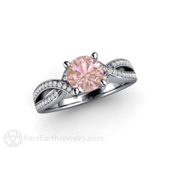 Round Pink Sapphire Engagement Ring Platinum Diamond Setting Rare Earth Jewelry
