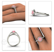 Pink Sapphire Halo Wedding Ring on Finger Rare Earth Jewelry