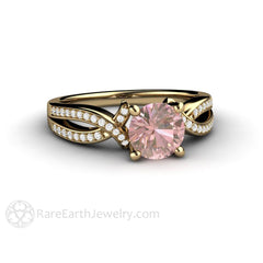 Pink Sapphire Bridal Ring 14K Gold with Diamond Accent Stones Rare Earth Jewelry