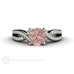 Natural Pink Sapphire Anniversary Ring Infinity Split Shank Setting Rare Earth Jewelry
