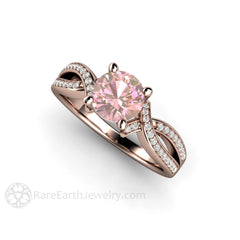 Round Pink Sapphire Right Hand Ring 18K Rose Gold Rare Earth Jewelry