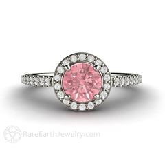14K Pink Sapphire Halo Ring Diamond Accent Stones Rare Earth Jewelry