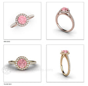 14K Gold Pink Sapphire Halo Ring Rare Earth Jewelry