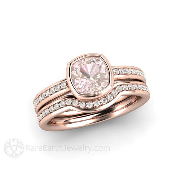 Pink Sapphire Wedding Set Cushion Bezel Solitaire Diamond Accented 18K Rose Gold Rare Earth Jewelry