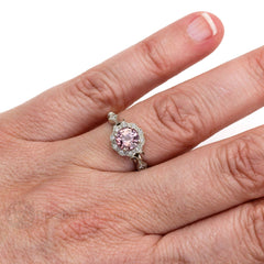 Rare Earth Jewelry Deco Vintage Ring Pink Spinel on Finger