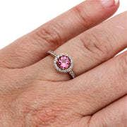 Pink Tourmaline Ring Aquamarine Halo on Finger Rare Earth Jewelry