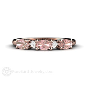 Rare Earth Jewelry Pink Tourmaline Diamond Anniversary Ring or October Birthstone Band