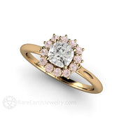 Rare Earth Jewelry Cushion Cut Diamond Pink Halo Wedding Ring 14K Yellow Gold