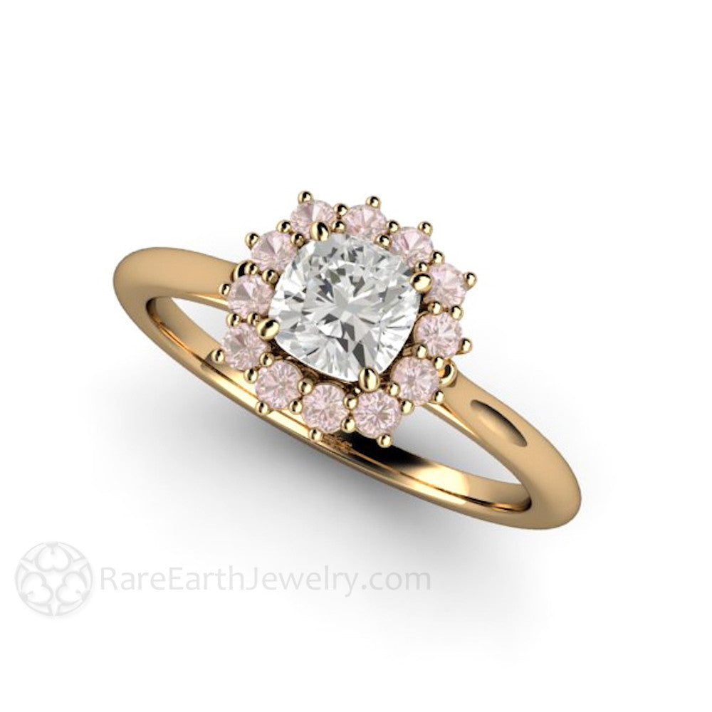 gold in white rings engagement ct ring halo cushion diamond cut