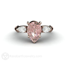 Rare Earth Jewelry Pink Pear Shaped Moissanite 3 Stone Ring