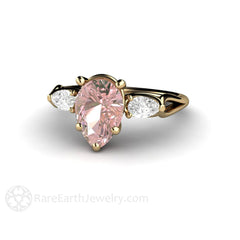Pink Moissanite Anniversary Ring Diamond Alternative Rare Earth Jewelry