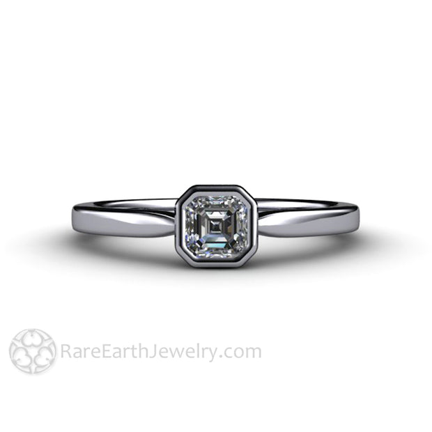 Platinum 4mm GIA Asscher Anniversary Ring April Birthstone Rare Earth Jewelry