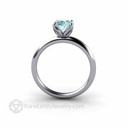 Platinum Aquamarine Engagement Ring March Birthstone Solitaire Rare Earth Jewelry