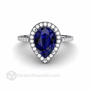 Platinum Blue Sapphire Engagement Ring Pear Diamond Halo Style with Narrow Band