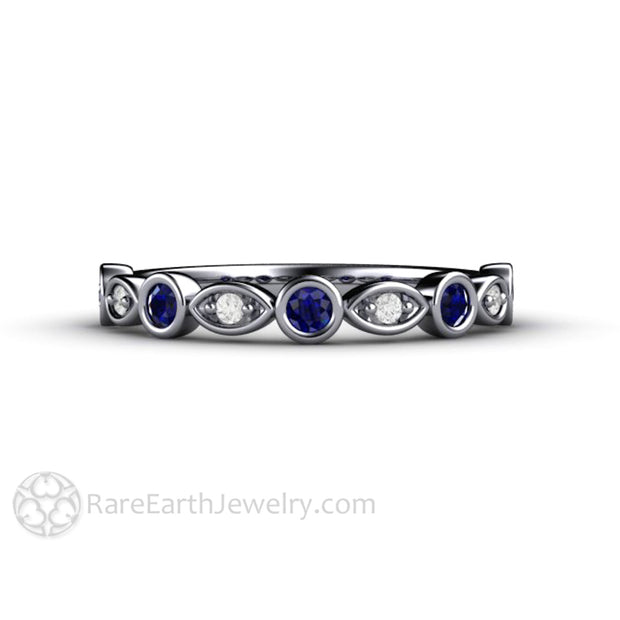 Platinum Blue Sapphire Wedding Band Stackable Ring Rare Earth Jewelry