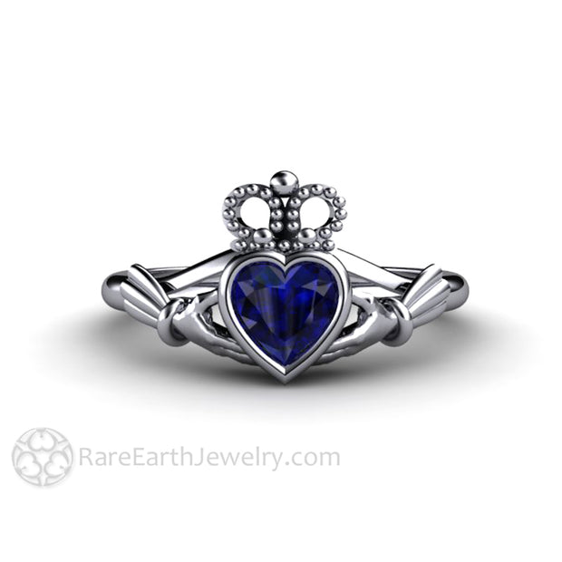Platinum Claddagh Ring Blue Sapphire Engagement Ring Celtic Wedding Ring in Platinum Bezel Rare Earth Jewelry