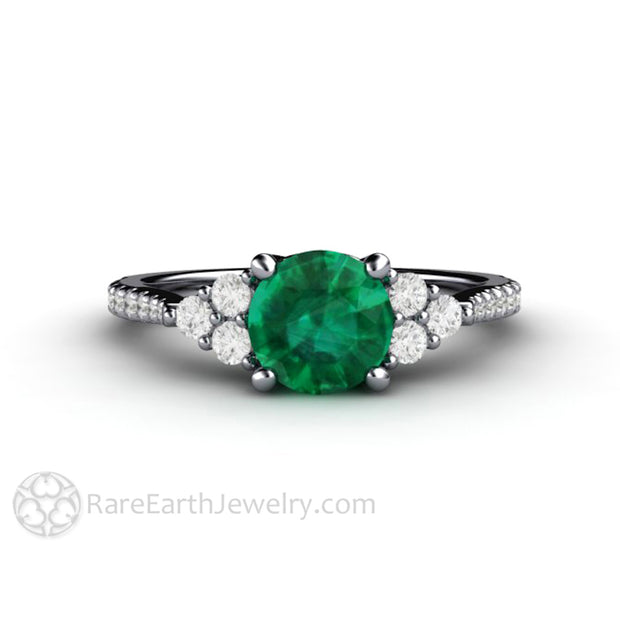 Platinum Emerald Engagement Ring with Diamonds 1 Carat Round Cut Green Gemstone Rare Earth Jewelry
