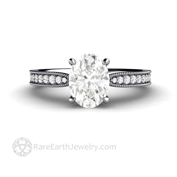 Platinum Moissanite Engagement Ring Eco Friendly Diamond Alternative