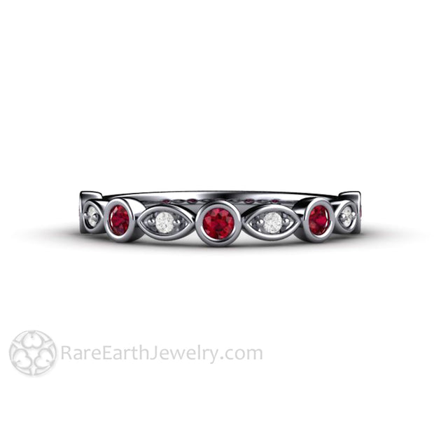 Platinum Ruby Anniversary Ring Diamond Accented Bezel Setting Rare Earth Jewelry
