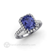 Platinum and Tanzanite Ring Diamond Halo Design