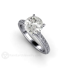 Platinum Vintage Filigree Moissanite Solitaire Ring Milgrain Detail Rare Earth Jewelry