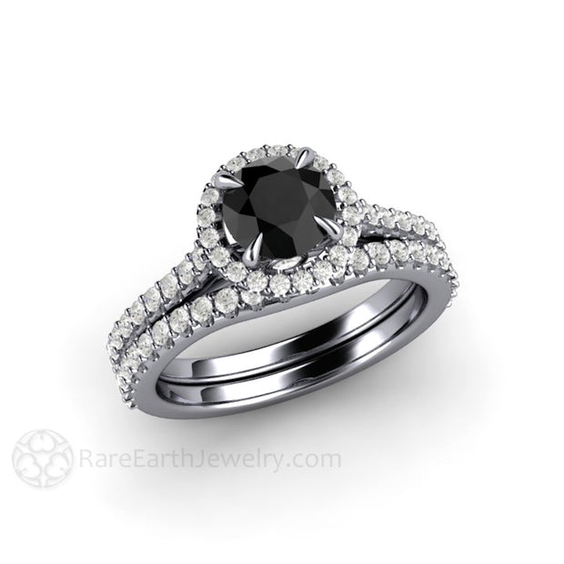 1ct Black Diamond Engagement Ring with Wedding Band Platinum Pave Halo Setting Rare Earth Jewelry