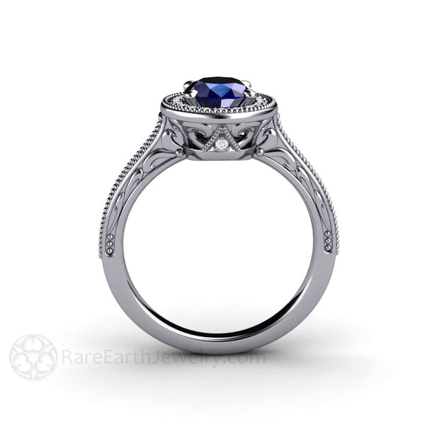 Platinum Oval Blue Sapphire Right Hand Ring Art Deco Style Rare Earth Jewelry