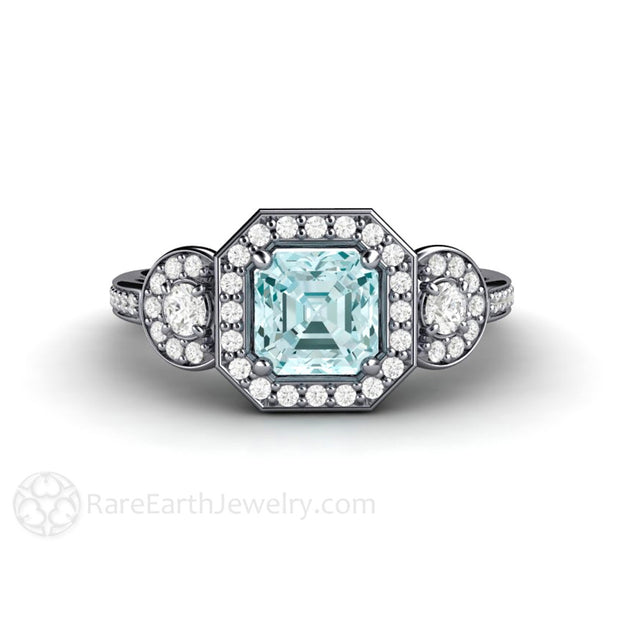 Platinum Aquamarine Diamond Halo Ring Rare Earth Jewelry