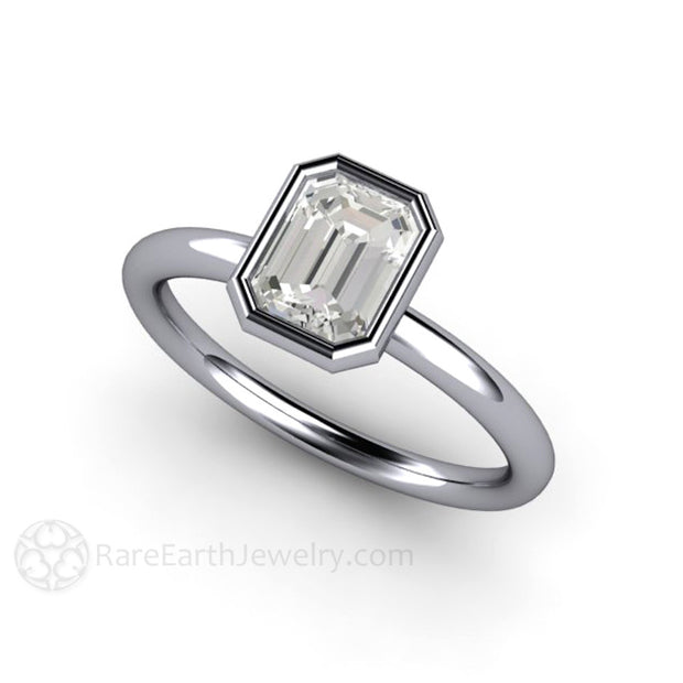 Rare Earth Jewelry 1ct Emerald Cut Diamond Ring April Birthstone or Right Hand