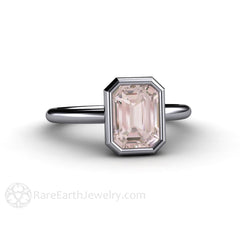 Diamond Alternative Engagement or Anniversary Ring Emerald Cut Morganite Rare Earth Jewelry