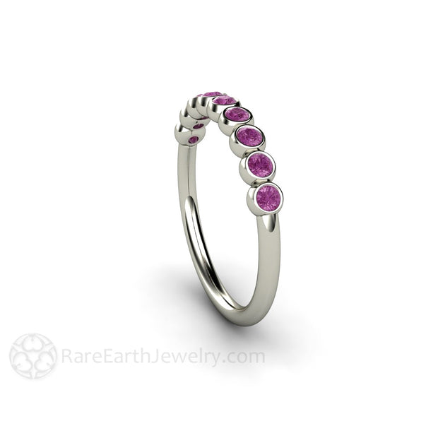 Natural Purple Diamond Anniversary Band White Gold Bezel Setting Rare Earth Jewelry