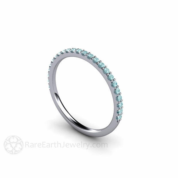Stackable Blue Diamond Skinny Band Ring Rare Earth Jewelry
