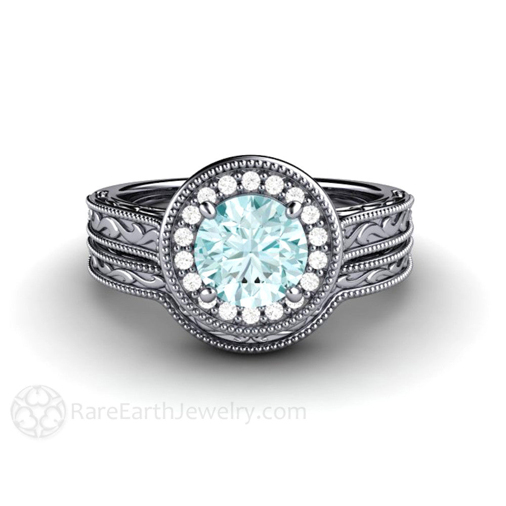 blue diamond wedding ring blue moissanite engagement ring deco halo 1925