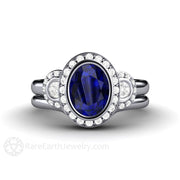 Rare Earth Jewelry Platinum Vintage Blue Sapphire Oval Halo Bridal Wedding Set 3 Stone Engagement Ring