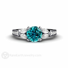 Platinum Blue Diamond Ring Round and Marquise Cut Diamonds Rare Earth Jewelry