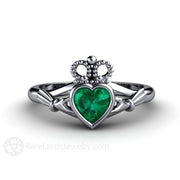 Platinum Green Emerald Claddagh Engagement Ring Rare Earth Jewelry