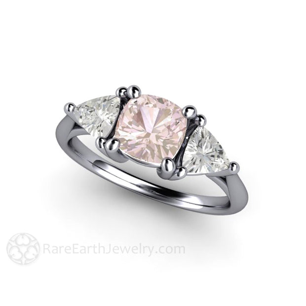 Platinum Light Pink Cushion Sapphire Anniversary Ring Rare Earth Jewelry