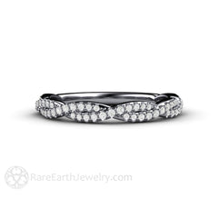 Platinum Diamond Infinity Ring Bridal or Anniversary Band Rare Earth Jewelry