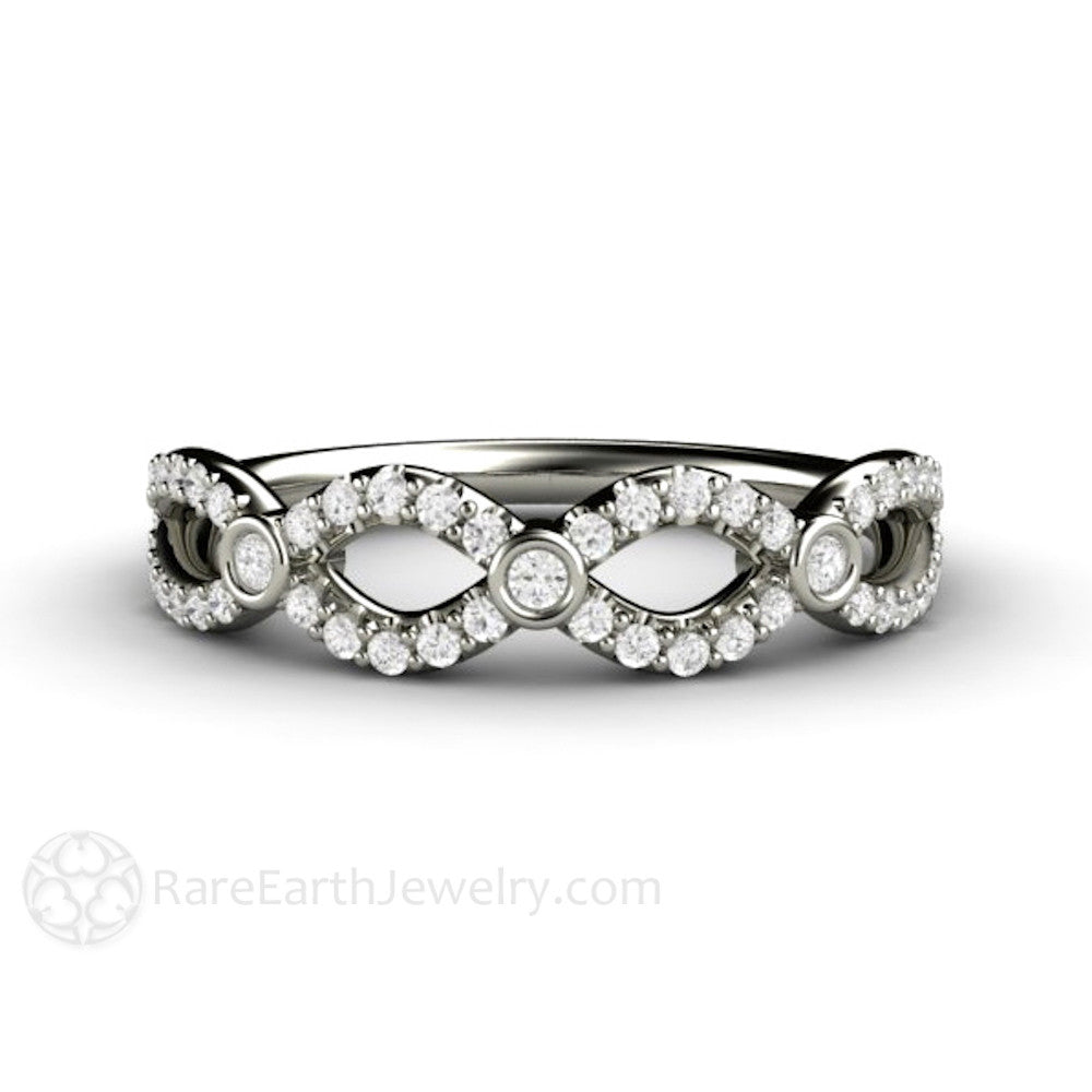 sterling cz band diamond bands silver infinity