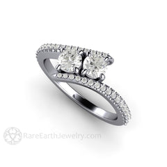 Platinum Diamond Bypass Ring April Birthstone Rare Earth Jewelry