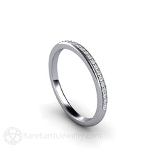 Rare Earth Jewelry Diamond Platinum Wedding Ring Stackable Anniversary Band