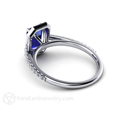 Blue Sapphire Bridal Ring with Diamond Halo and Accents Emerald Cut Gemstone Rare Earth Jewelry