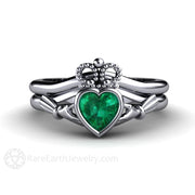 Emerald Claddagh Wedding Band Set Platinum Bezel Setting Rare Earth Jewelry