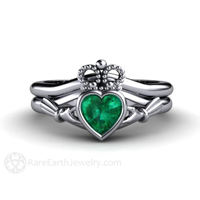 74ac185522e4b Emerald Claddagh Ring Irish Engagement Ring Celtic Jewelry