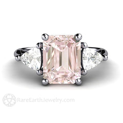 Pink Emerald Cut Morganite Engagement Ring 18K Gold